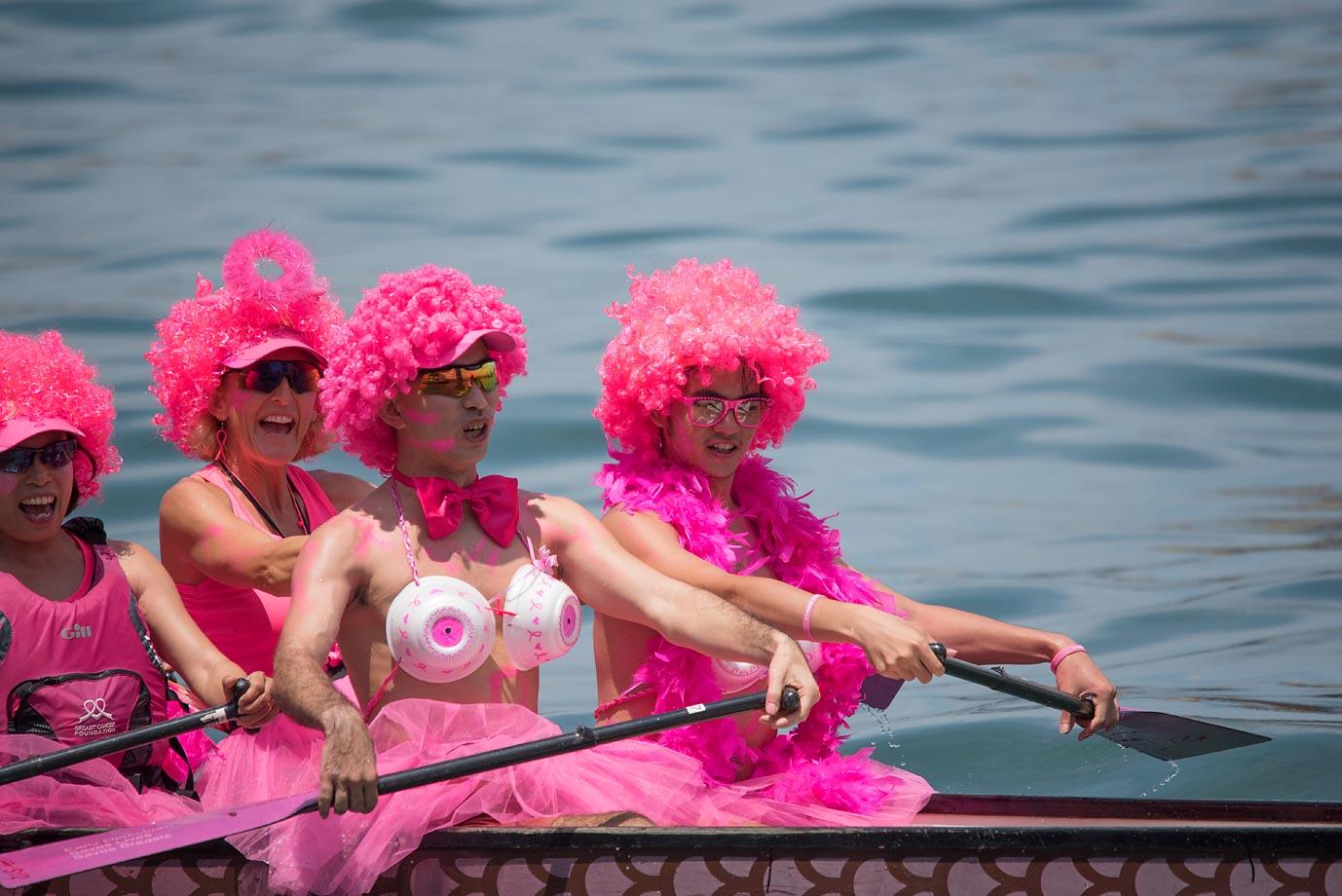 A team prepares to race at the Hong Kong Dragon Boat Carnival.