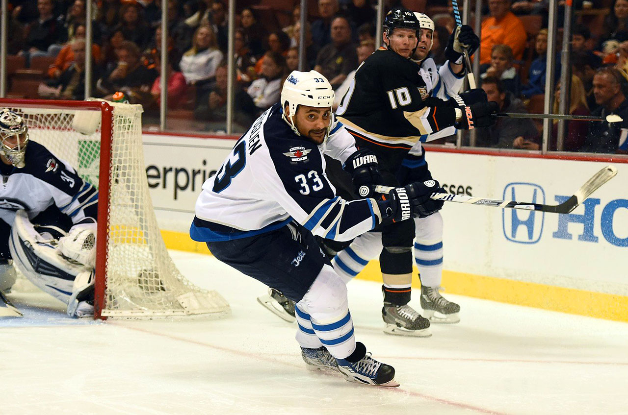 Used in a sentence: Byfuglien scored 18 goals and added 27 assists on the Winnipeg blue line this season.
