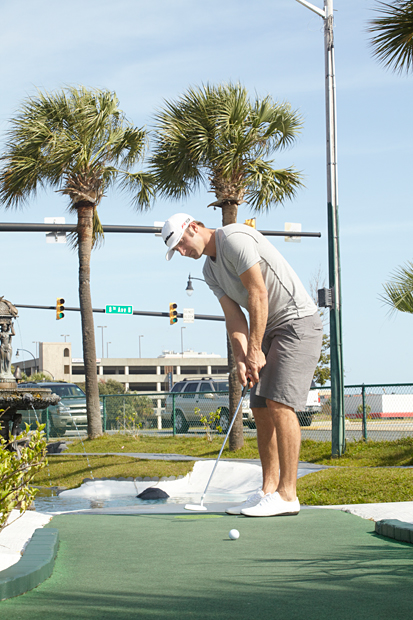 Dustin Johnson at a photo shoot in Myrtle Beach. (Darren Carroll/SI)
