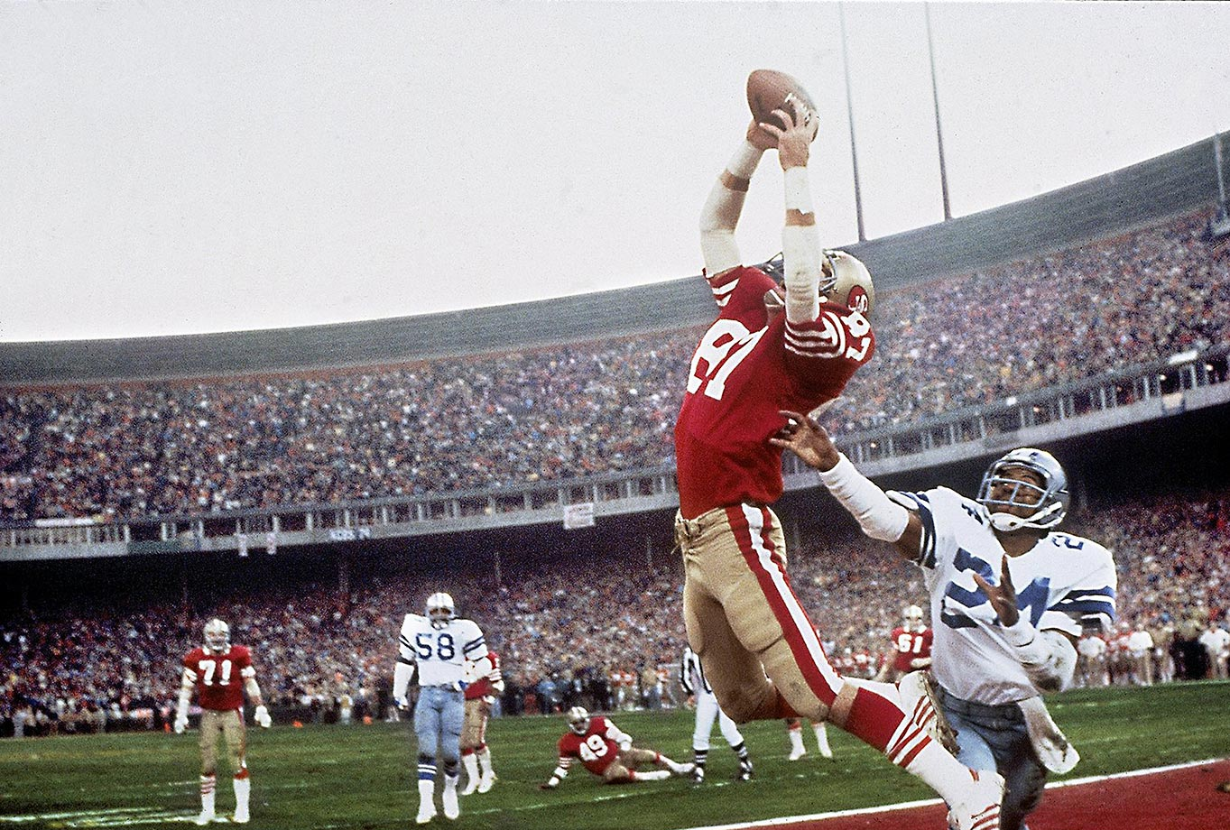 1981: Dwight Clark's jumping catch in the NFC title game between San Francsico and Dallas.