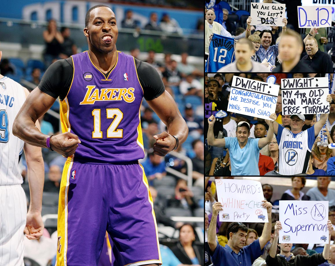 "Orlando fans showed up in droves to express their displeasure with Howard, making signs calling him a coward and ""Kobe's kid"" and booing him every time he touched the ball. Howard responded to the animosity with one of his strongest performances of the year, scoring a season-high 39 points with 16 rebounds and tying his NBA record with 39 free throw attempts. At one point Howard jawed with the Magic bench, but the night ended on a kinder note as the Lakers center shook hands with the Magic's Jameer Nelson after Los Angeles' 106-97 victory."