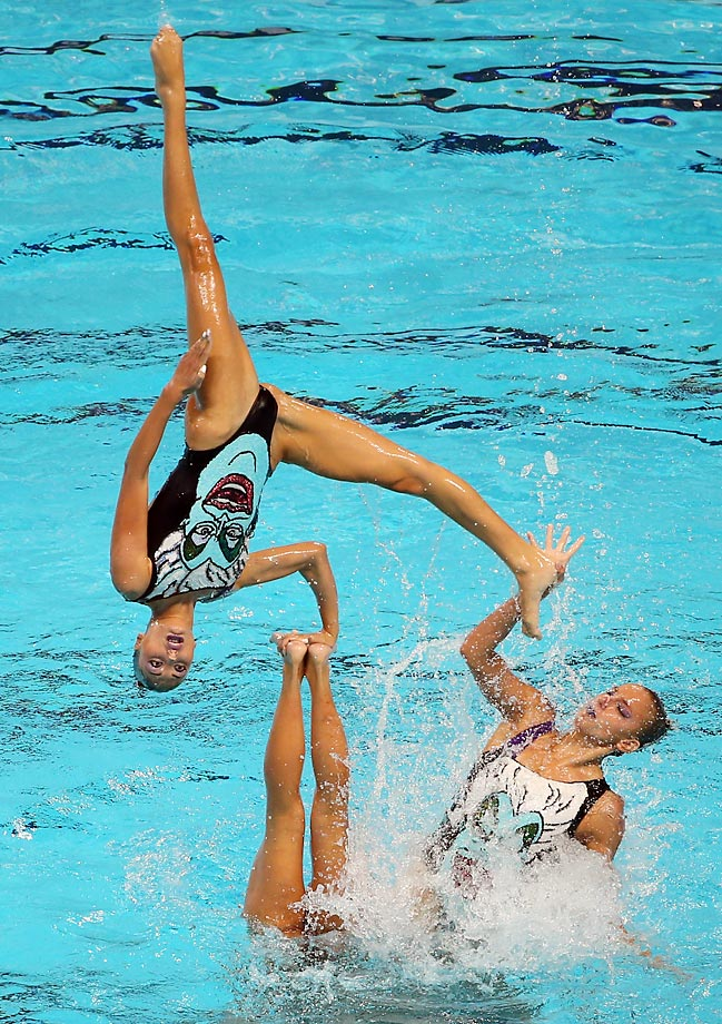 The Greece team competes in the Team Free Synchronised Swimming Preliminaries at the FINA World Championships in Russia.