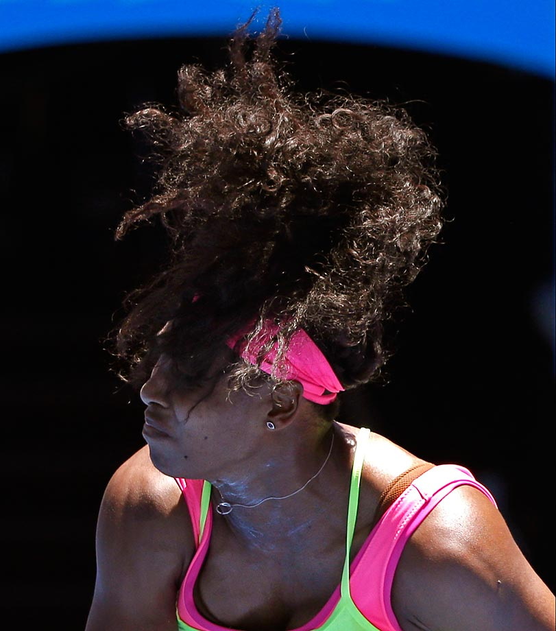 Serena Williams during a victory at the Australian Open.