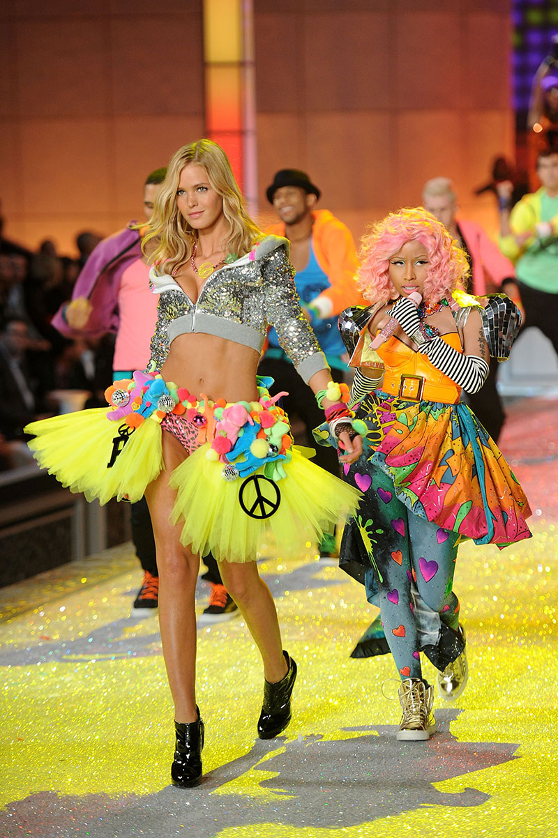 Erin Heatherton walks with rapper Nicki Minaj in the 2013 Victoria's Secret Fashion Show