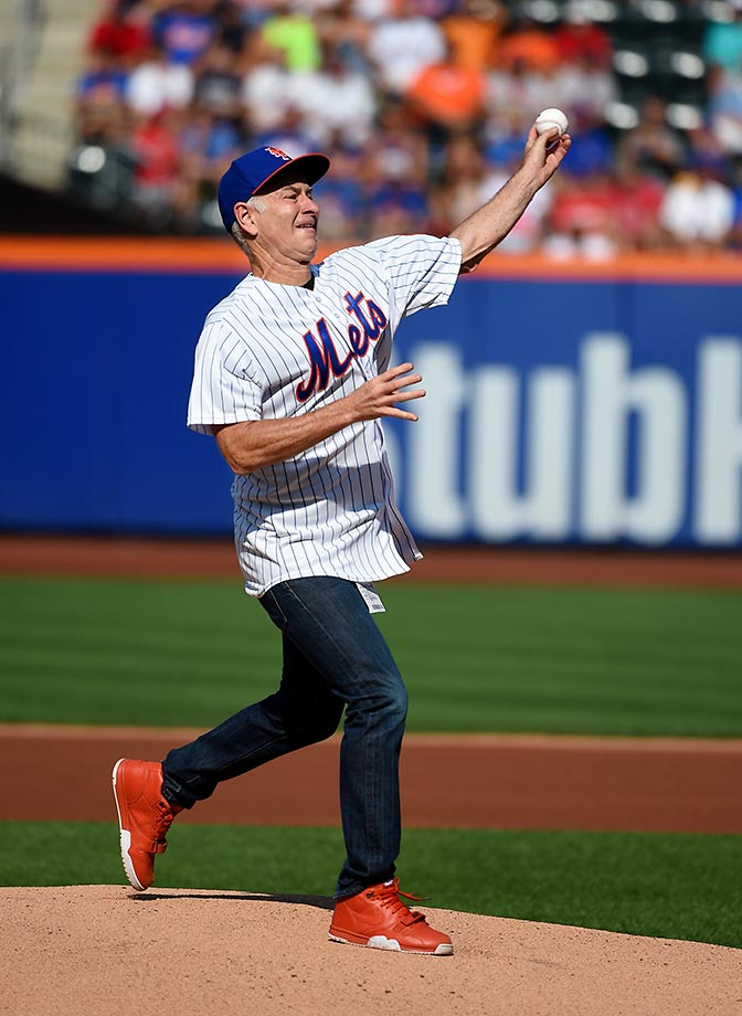 John McEnroe throws out the ceremonial first pitch before the New York Mets-Boston Red Sox game.