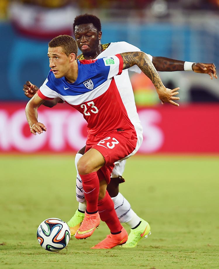 Fabian Johnson, who hails from Munich, Germany, made his debut for the USMNT against France in November 2011.  He is a defender/midfielder on the USMNT.