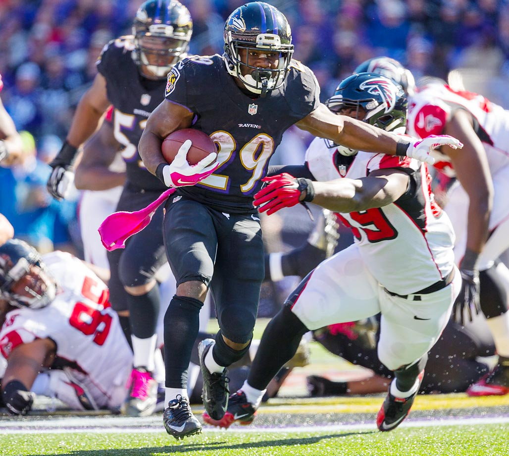 Justin Forsett ran for 95 yards in the Ravens' 29-7 win over the Falcons.