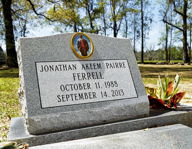 The headstone of Jonathan Ferrell at Saint Stephen Missionary Baptist Church Cemetery.