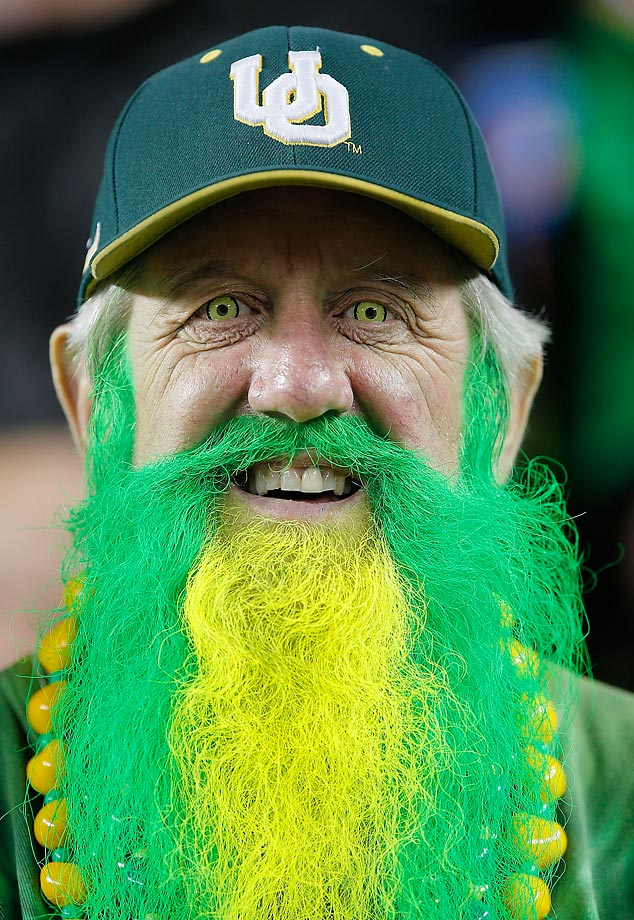 An Oregon Ducks fans celebrates an impending victory against the Arizona Wildcats.