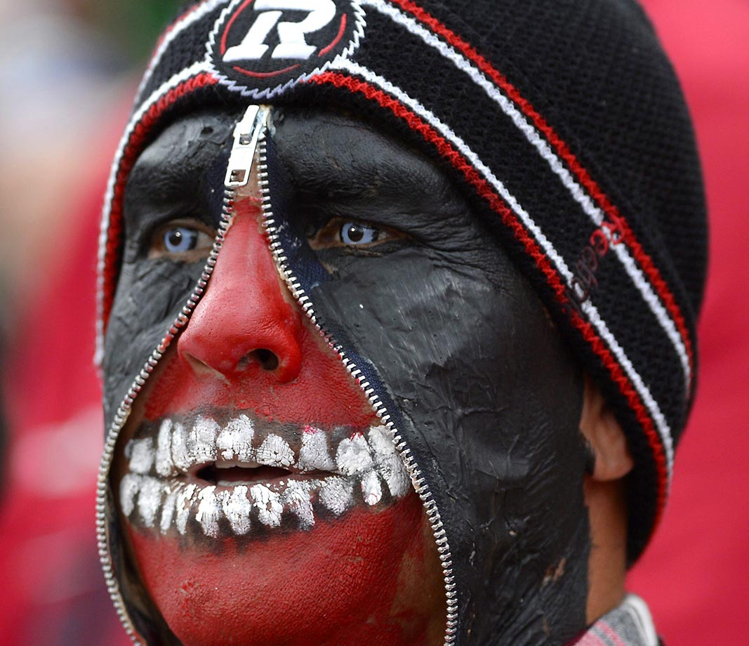 Ottawa Redblacks fan Jimmy Fata looks on during the CFL game between the Redblacks and Saskatchewan Roughriders.