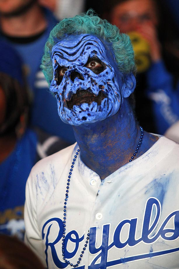 A Kansas City Royals fan in costume at Game 7 of the World Series.