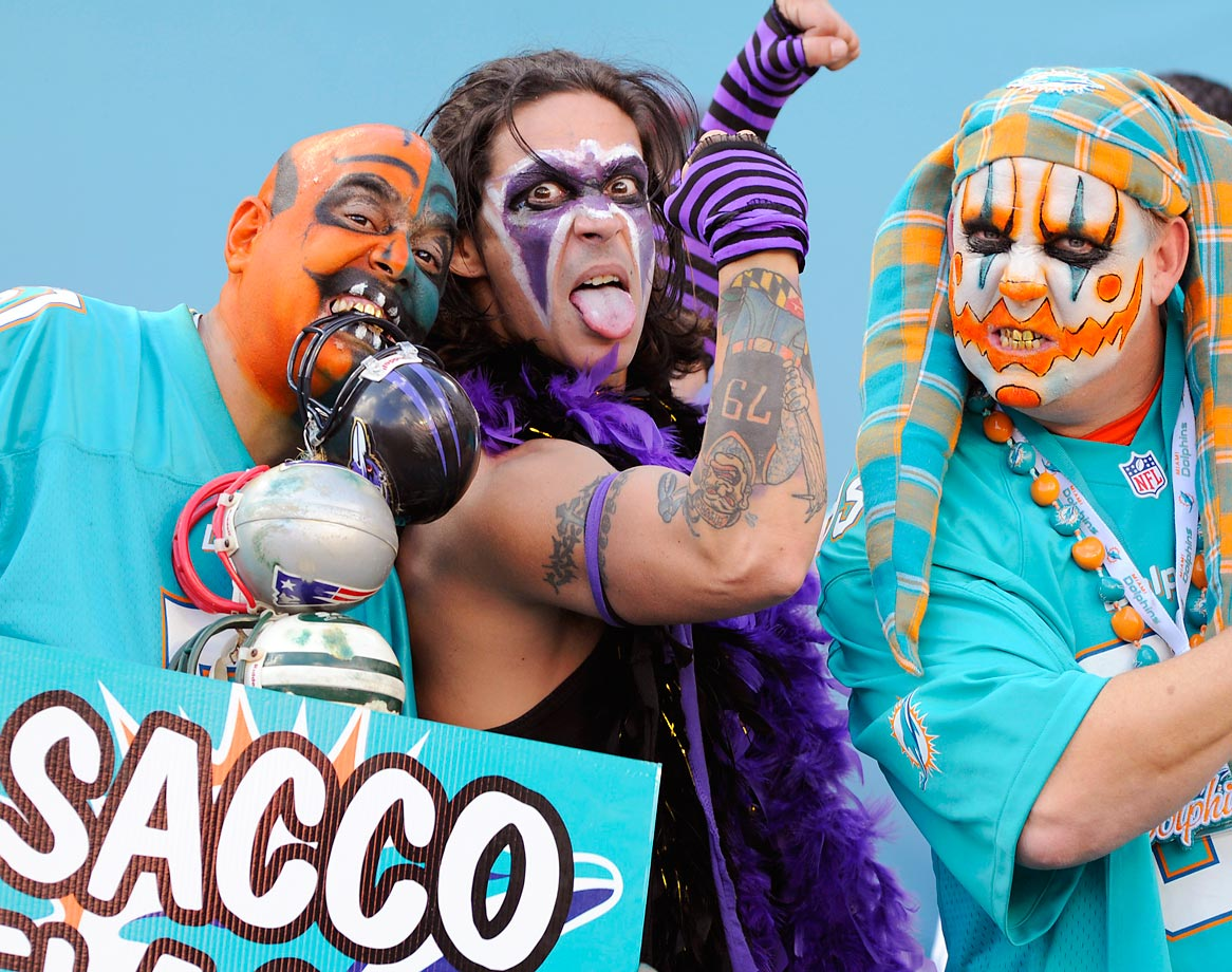 Dolphins and Ravens fans get a little rowdy before the start of the game at Sun Life Stadium.