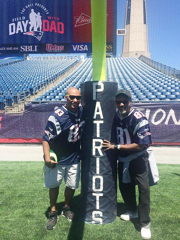 @SInow Field Day with Dad, played catch with Dad and Mom at Gillette. Caught TDs in end zone from both #KeepGoodGoing