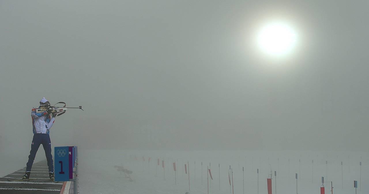 Fog forced postponement of the men's 15 km Mass Start on Sunday, Feb. 16.