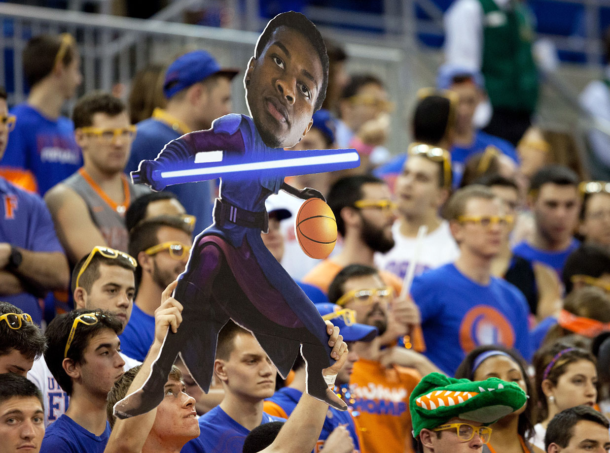 A Florida Gators fan holds a sign depicting Chris Walker as a Star Wars Jedi character before the Gators game against the Missouri Tigers on Feb. 4, 2014 at the Stephen C. O'Connell Center in Gainesville, Fla.