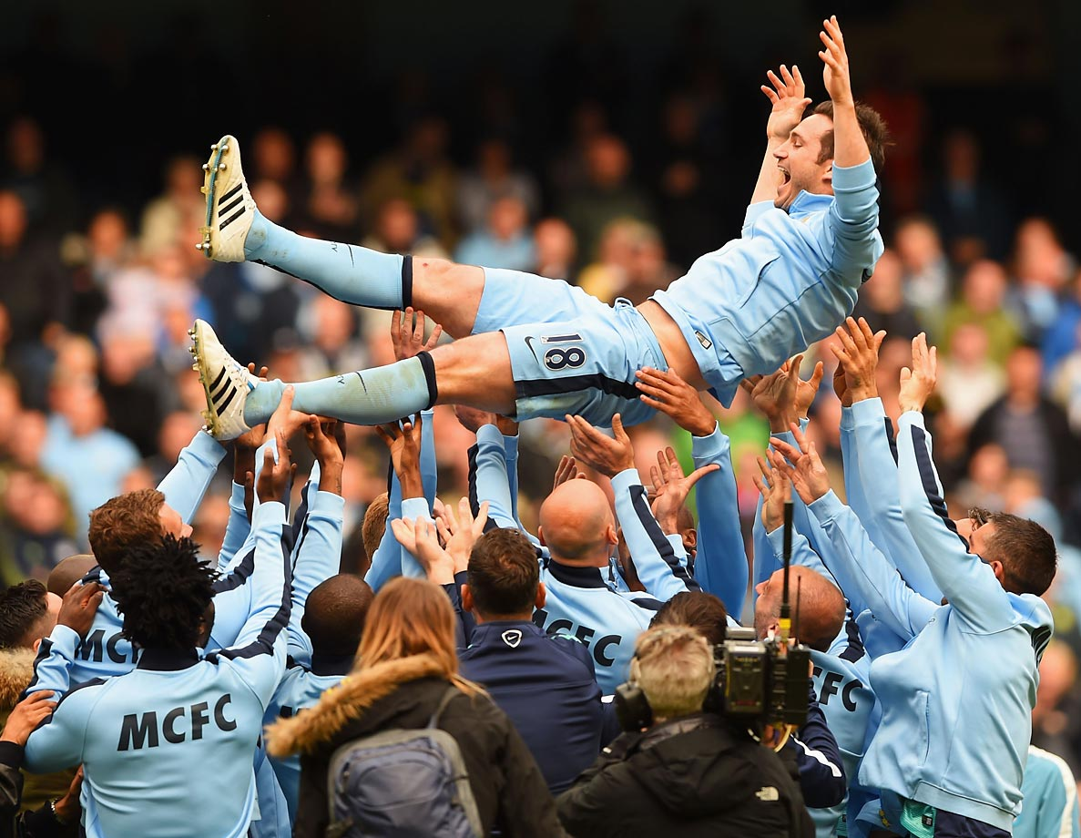 Frank Lampard of Manchester City is thrown into the air after the Barclays Premier League match between Manchester City and Southampton.
