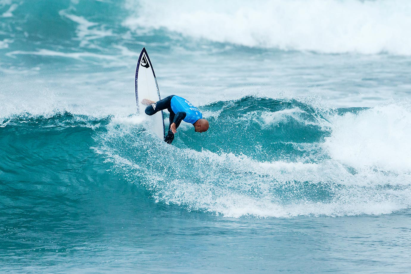 Fred Patacchia seems to be facing the wrong direction at the Rip Curl Pro Bells Beach in Australia.