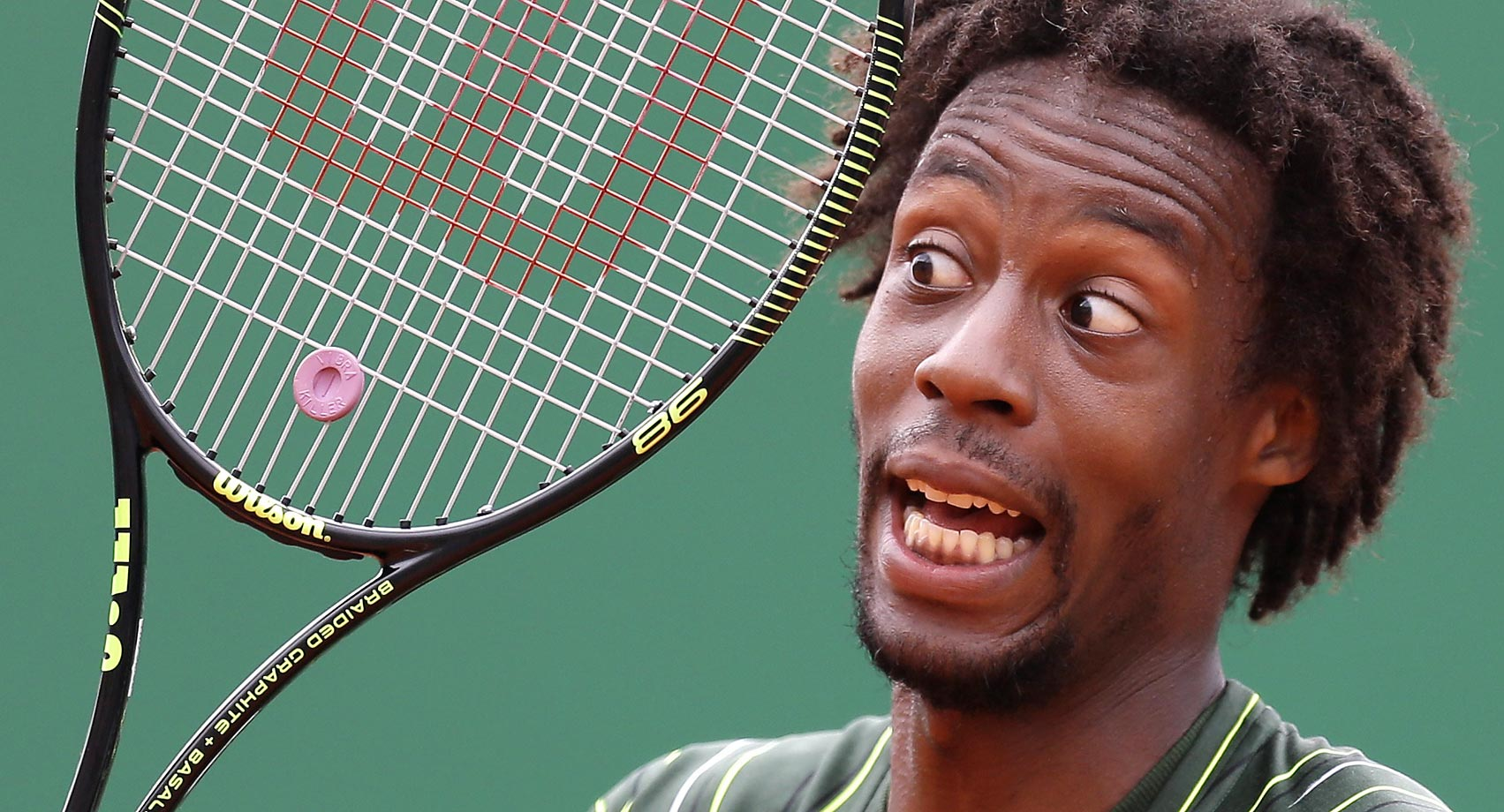 Gael Monfils during his match against Roger Federer at the Monte Carlo Tennis Masters tournament.