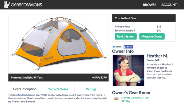 GearCommons' website offers people the chance to share gear they own with others looking to rent things like tents, backpacking equipment, kayaks and more.