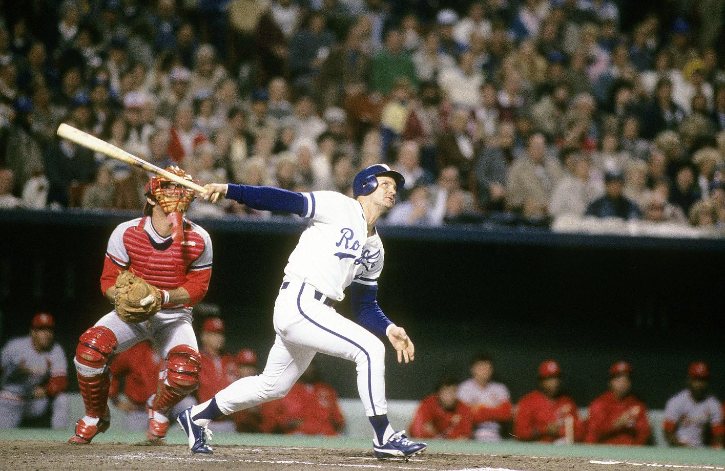 George Brett watches the ball after a hit against the Cardinals. He had previously been named the ALCS MVP for his performance against the Toronto Blue Jays.