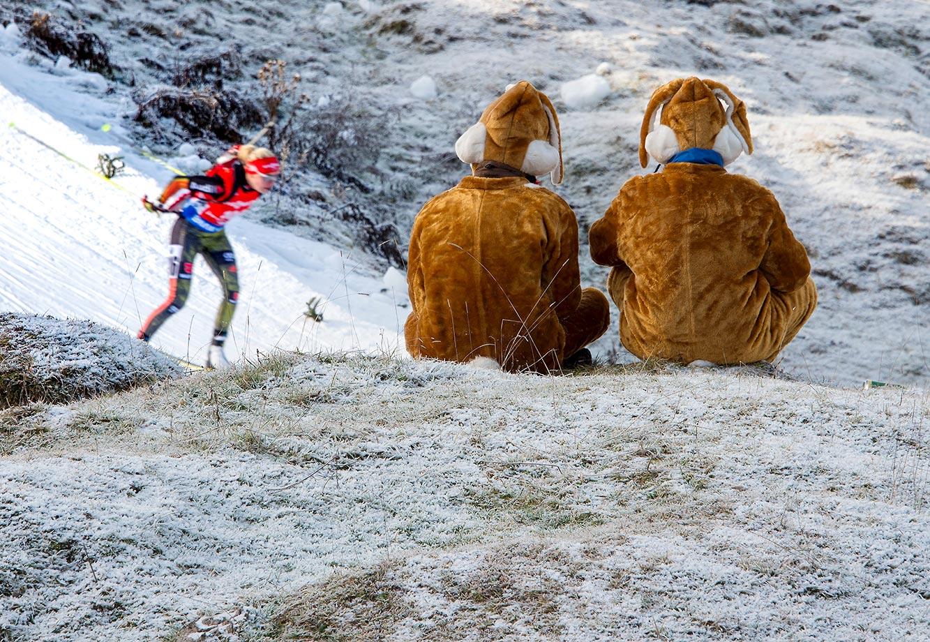 German biathlon fans watch Maren Hammerschmidt in the 7.5 km sprint event during IBU World Cup in Hochfilzen, Austria.