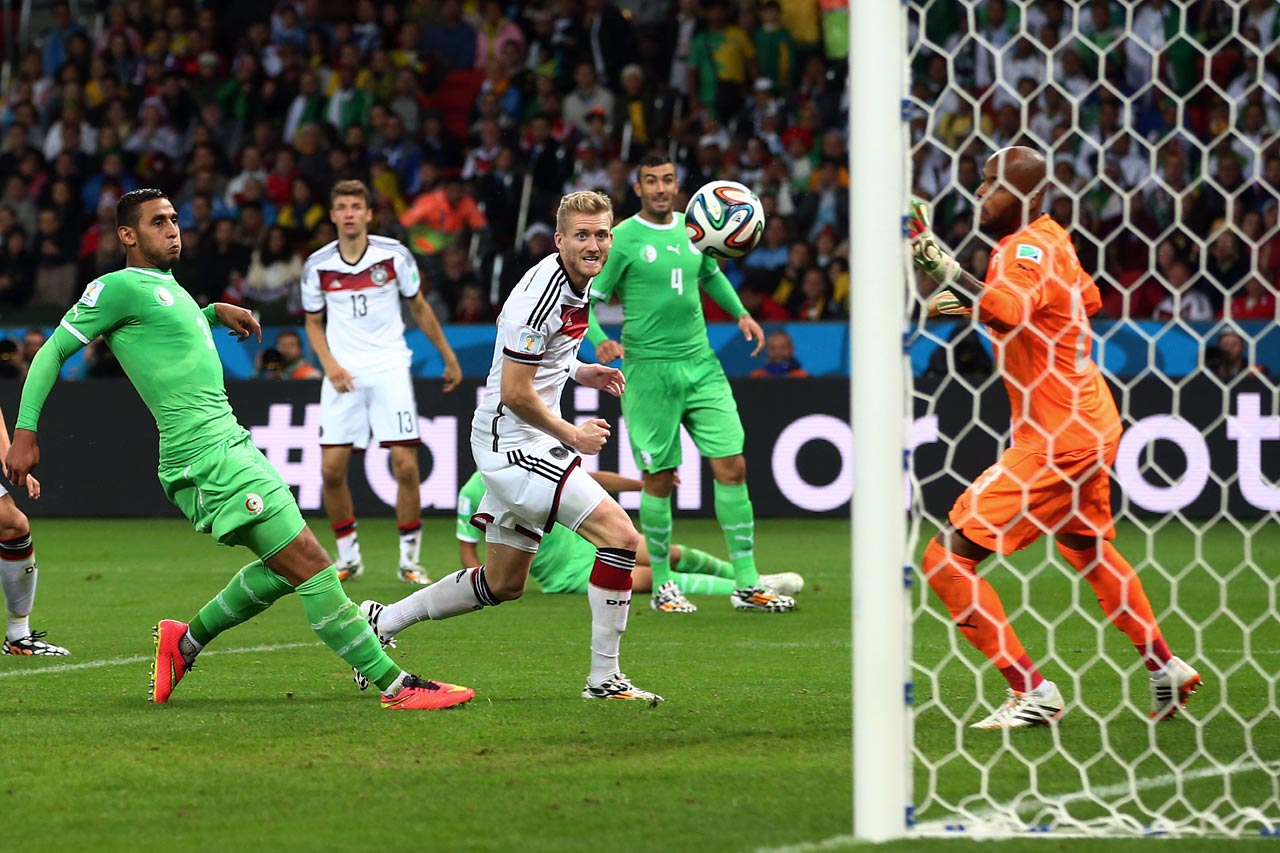 Germany's Andre Schurrle watches his back-heel attempt open the scoring in extra time of a 2-1 win over Algeria in the round of 16.