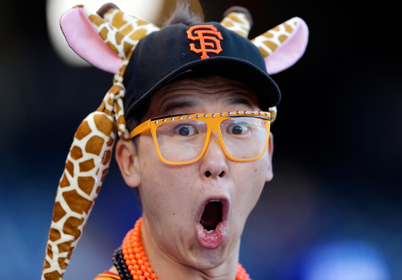 A San Francisco Giants fan during batting practice before Game 7 of the World Series.