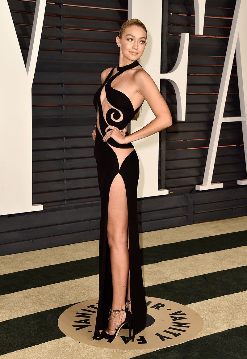 Gigi Hadid attends the 2015 Vanity Fair Oscar Party