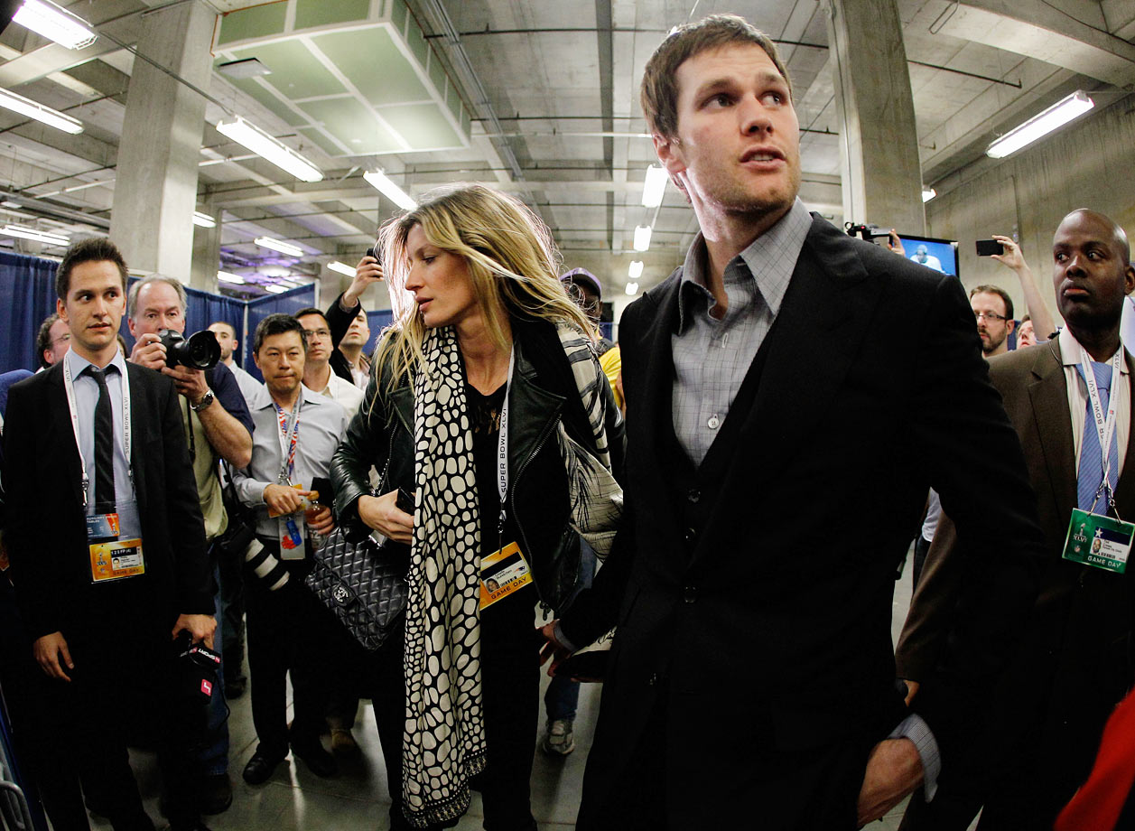 "Following the Super Bowl XLVI loss to the Giants, Brady's wife, Gisele Bunchen, vented her frustrations with the play of her husband's receivers. After being heckled by Giants fans while waiting for an elevator, Bundchen told people in her group, ""My husband cannot f-----g throw the ball and catch the ball at the same time. I can't believe they dropped the ball so many times."" Bundchen's remark was caught on video and posted to the insider.com, a gossip website."