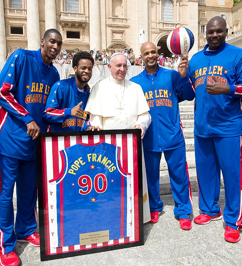 In celebration of their 90th anniversary tour, the Harlem Globetrotters met with Pope Francis and named him just the ninth Honorary Harlem Globetrotter in team history.