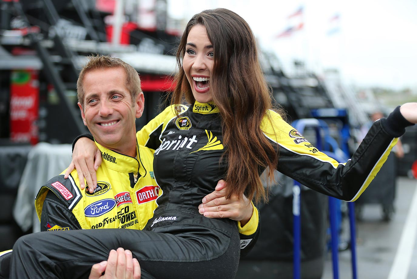 Greg Biffle picks up Sprint Cup girl Julianna during practice for the ENERGY 301.