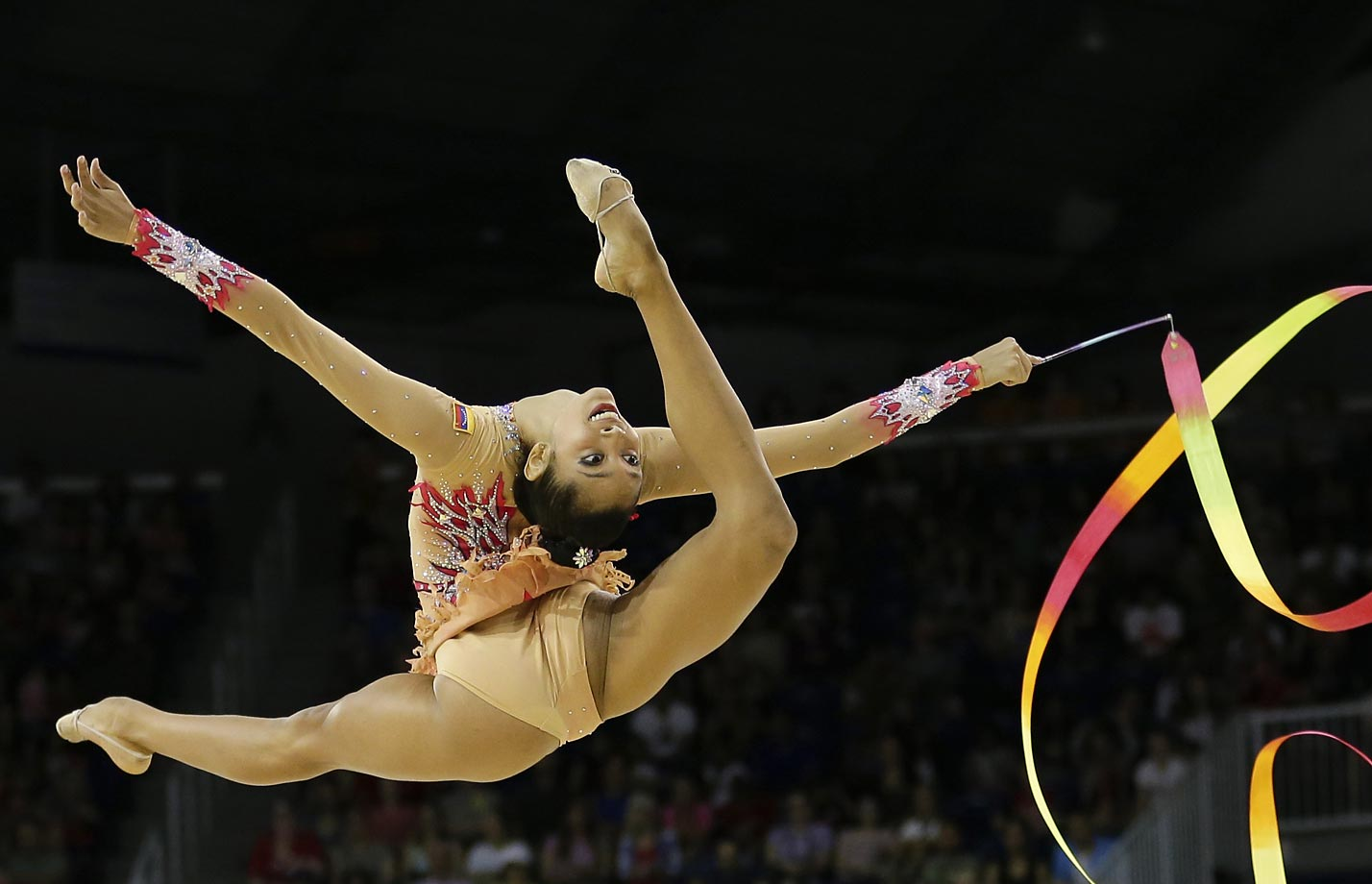 Grisbel Lopez performs during the individual all-around rhythmic gymnastics competition at the Pan Am Games.