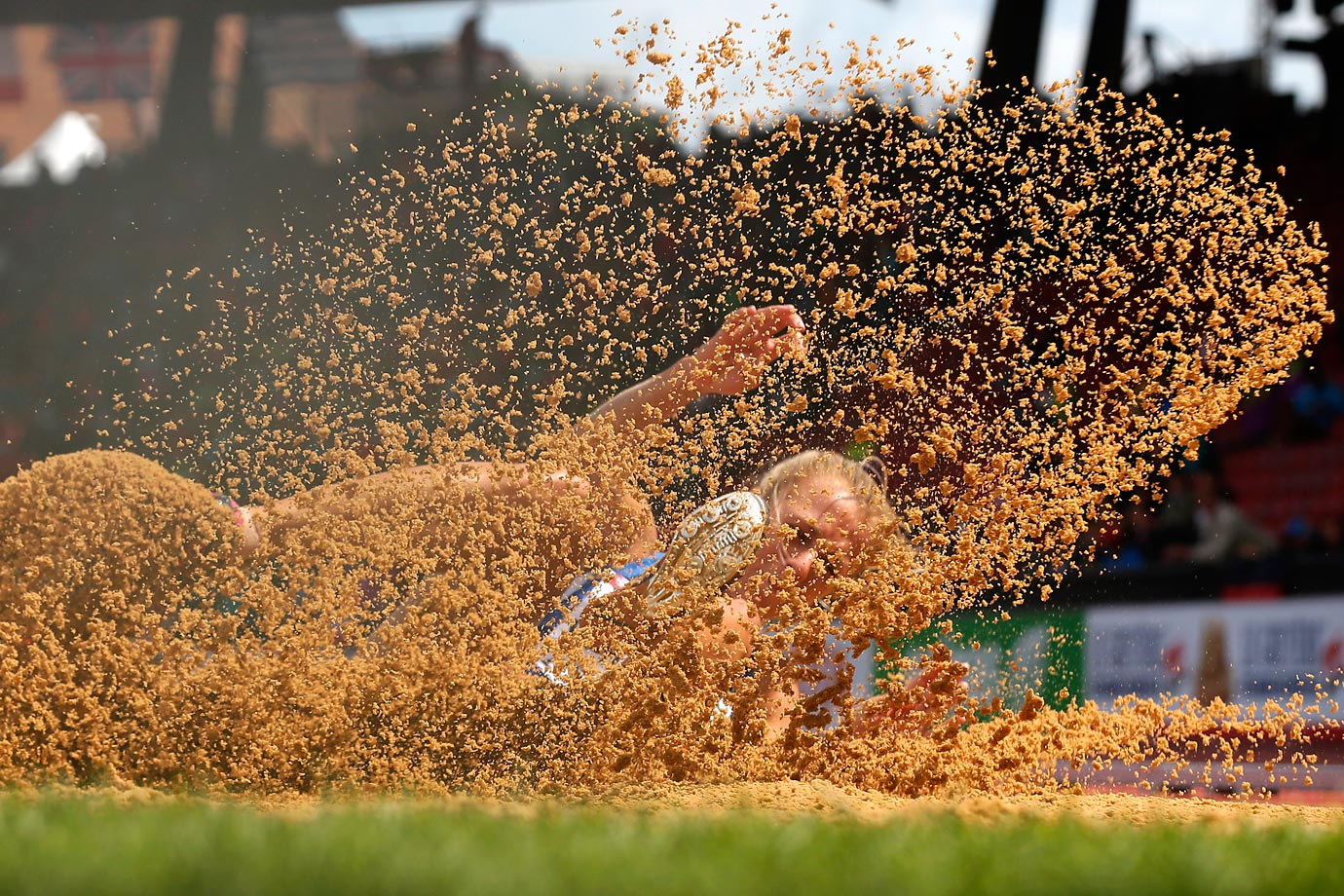 Estonia's Grit Sadeiko lands during the long jump portion of the heptathlon during the European Athletics Championships.