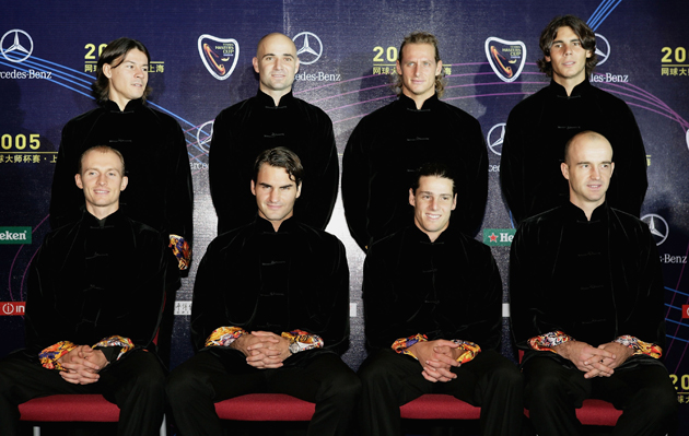 The field: Davydenko, Federer, Gaudio, Ivan Ljubicic (back row) Guillermo Coria, Agassi, Nalbandian and Nadal.