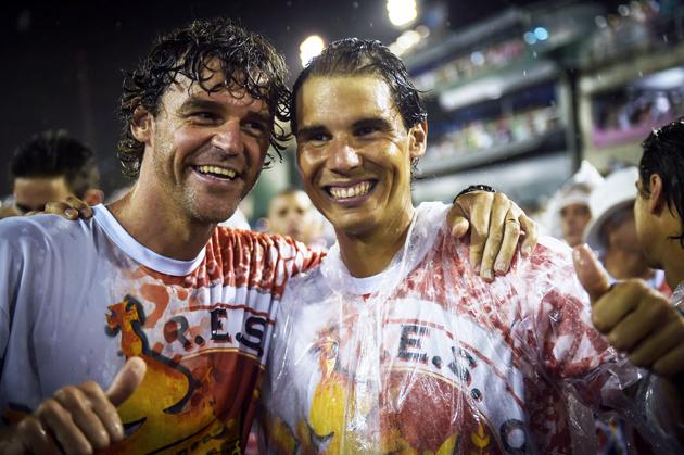 Kuerten and Rafael Nadal during Carnival at the Sambodrome in Rio de Janeiro.