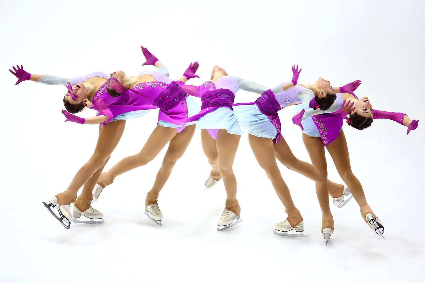 Multiple exposure photo of Guia Maria Tagliapietra of Italy during the Free Skating of the ISU World Junior Figure Skating Championships in Tallinn, Estonia.