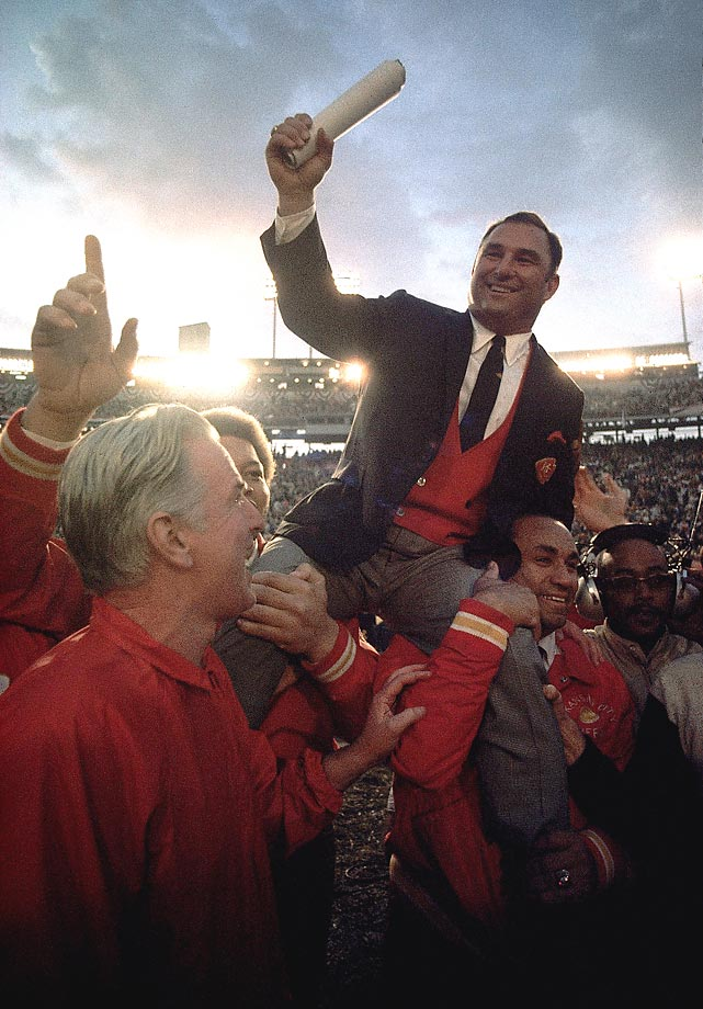 Kansas City Chiefs coach Hank Stram is carried off the field after a Super Bowl IV victory over the Minnesota Vikings in January 1970.