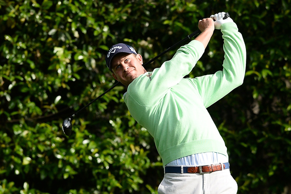 Harris English plays a practice round for the upcoming Masters Tournament at Augusta National Golf Club on April 8, 2014.