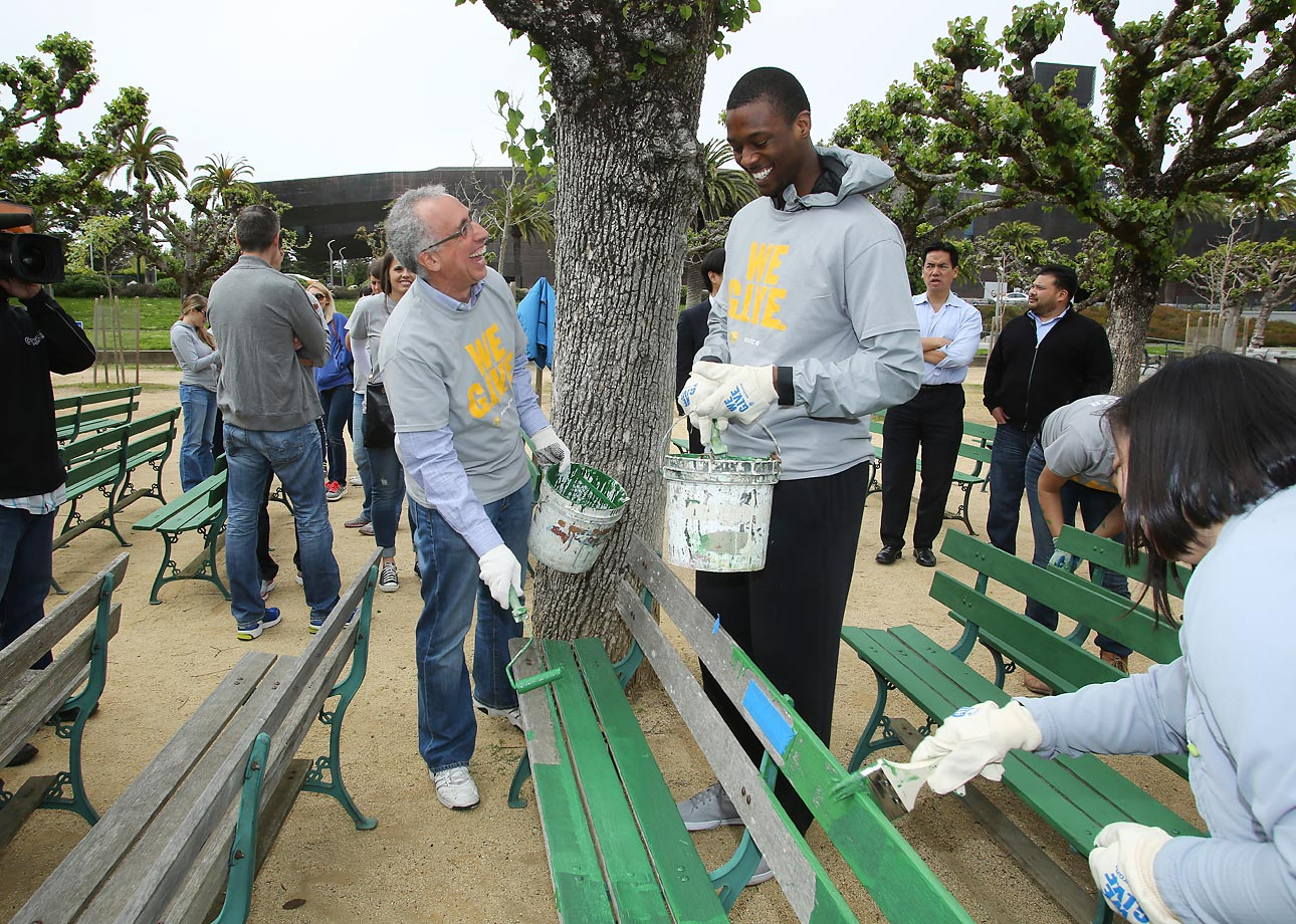 Harrison Barnes of the Golden State Warriors helps refurbish Golden Gate Park along with 350 fans and volunteers, city officials and Warriors front office employees during NBA Green Week.