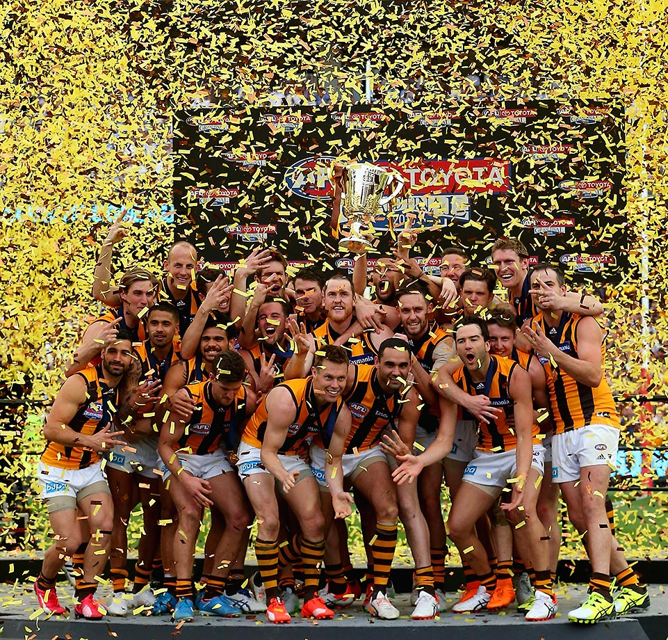 The Hawks celebrate winning the 2015 AFL Grand Final match over the West Coast Eagles.