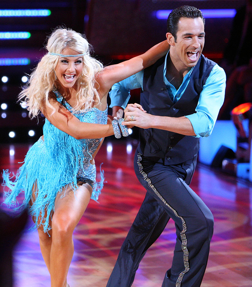 IndyCar racing driver Helio Castroneves won 1st place with dancing partner Julianne Hough (pictured) in Season 5 and finished 10th with partner Chelsie Hightower in Season 15's Dancing with the Stars: All-Stars.
