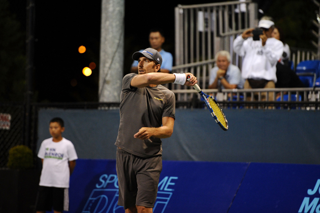 Lundqvist practices his shot at the Johnny Mac Tennis Project Benefit in August 2014 in New York City.