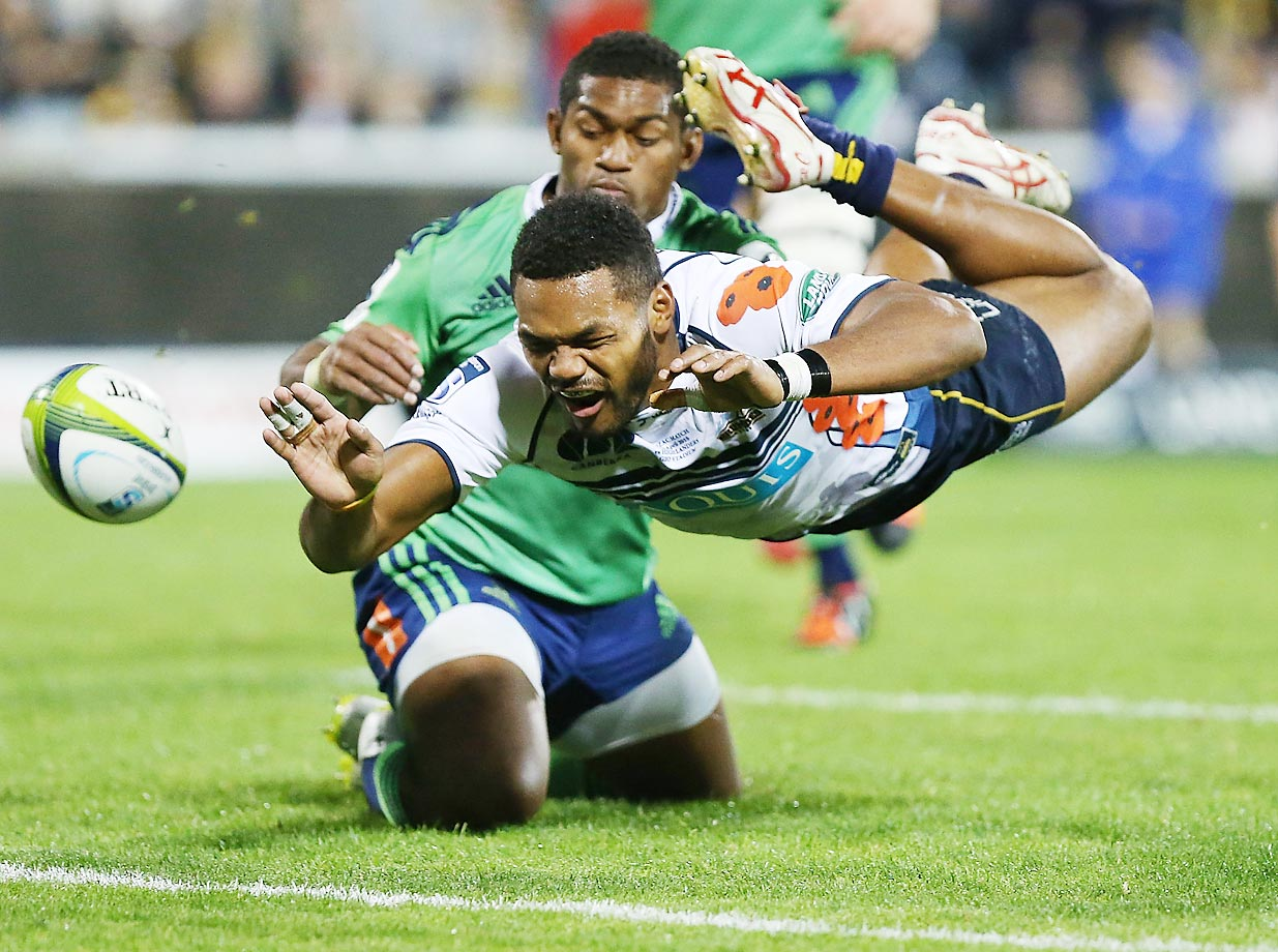 Henry Speight of the Brumbies drops the ball while attempting to score a try during the round 11 Super Rugby match between the Brumbies and the Highlanders in Canberra, Australia.