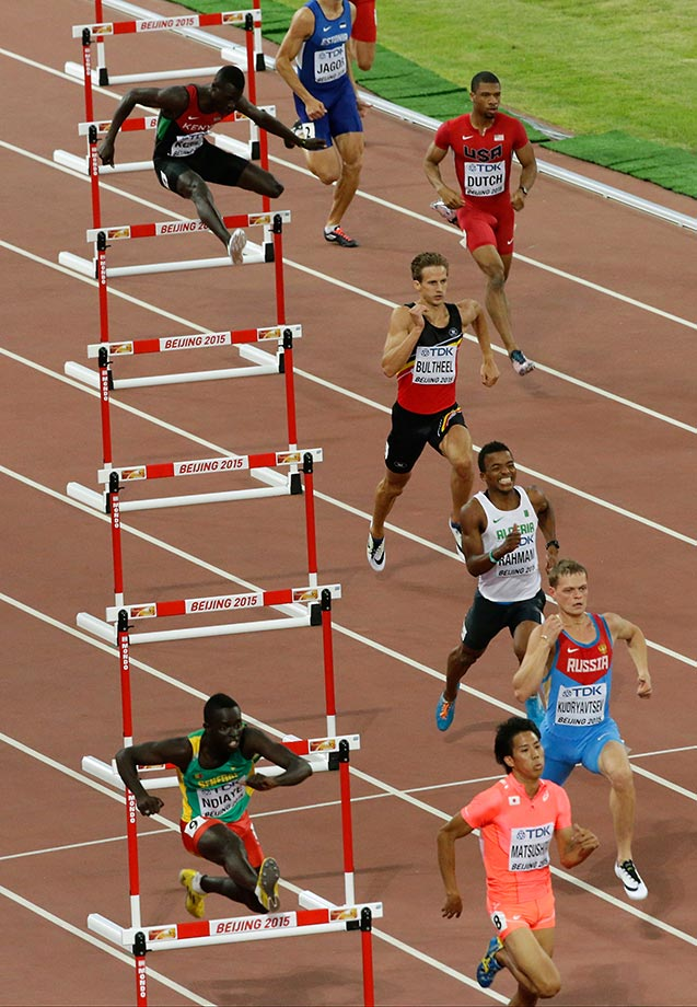 The men's 400m hurdles at the World Athletics Championships in Beijing.