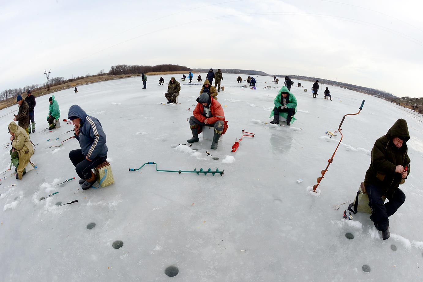 Apparently, ice fishing is popular in eastern European countries.