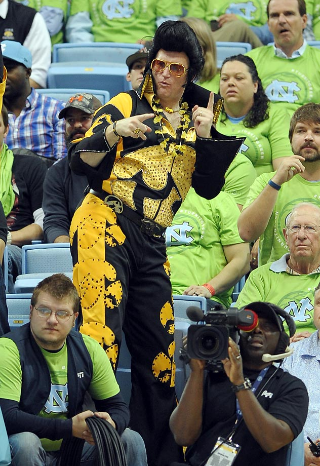 Elvis is now a Hawkeye fan, and it helped...  Iowa defeated North Carolina 60-55.