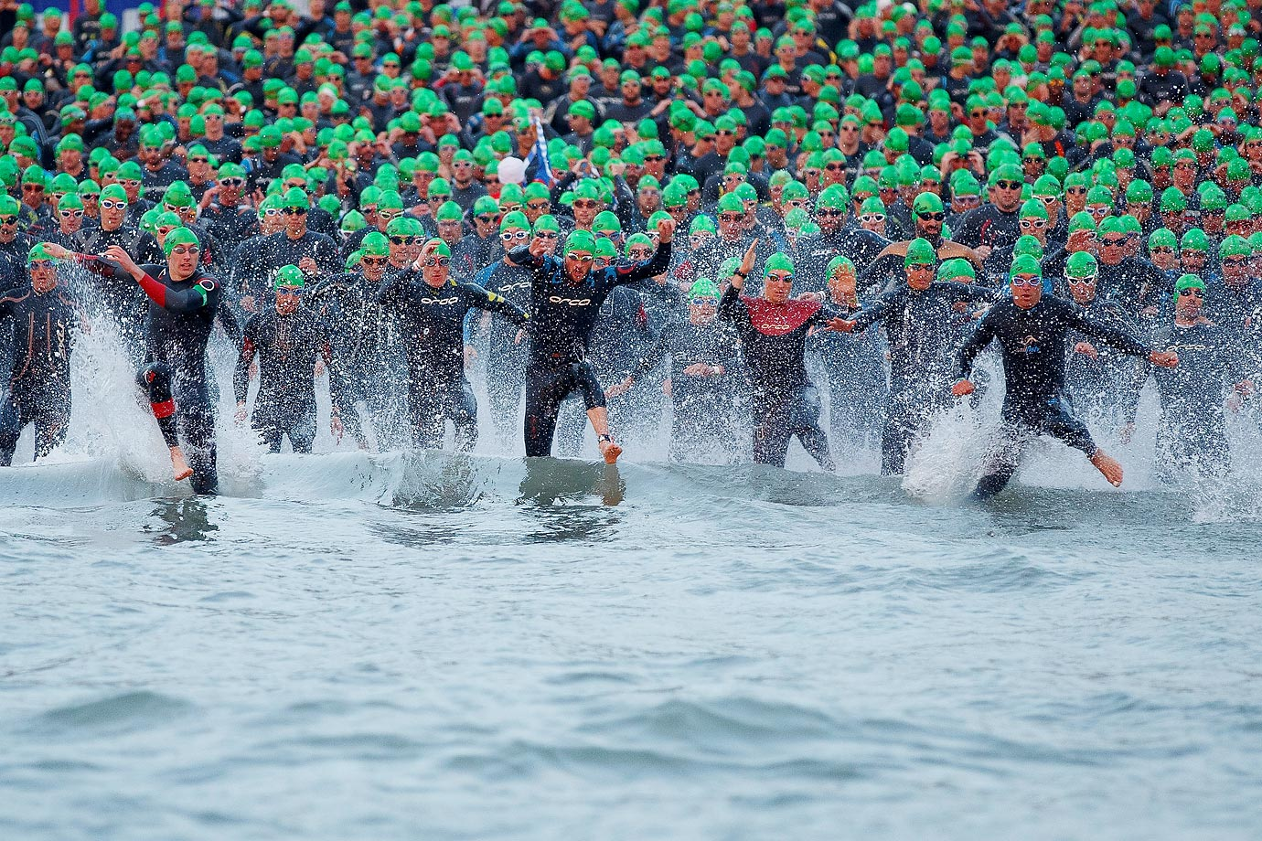 Athletes compete in the Ironman Wales on Sept. 14.