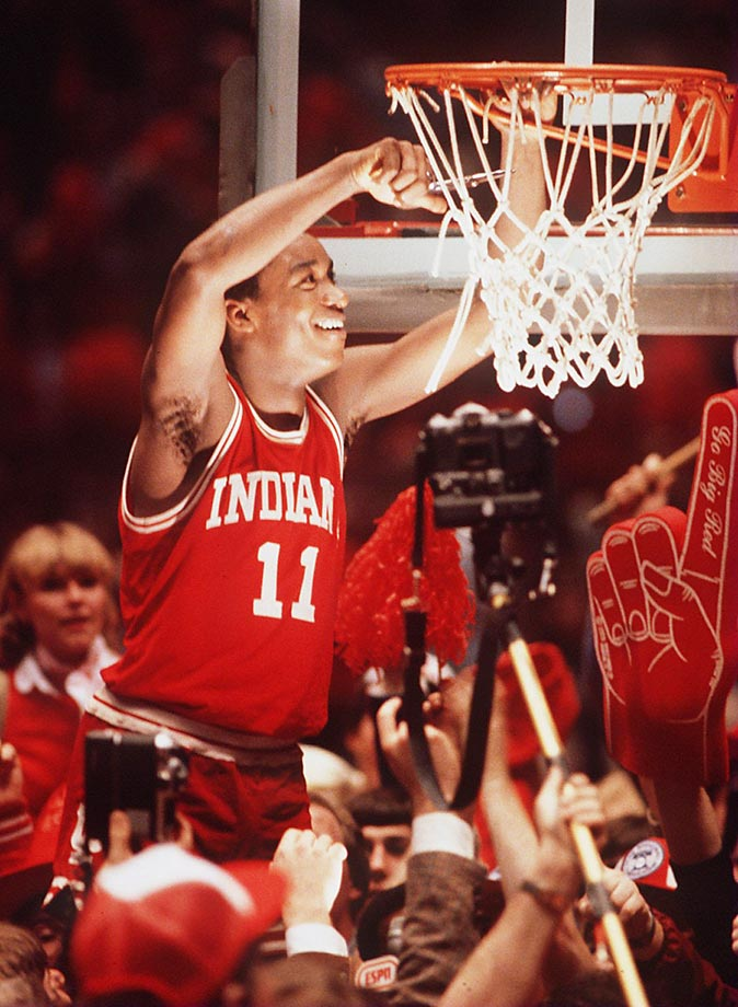 Indiana point guard Isiah Thomas cuts down the net after the Hoosiers defeated LSU 67-49 in the Final Four semifinal.