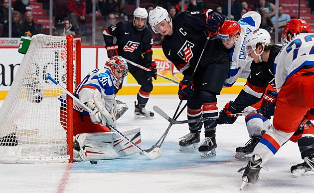 U.S. captain Jack Eichel (9) in action against Russia at the 2015 world juniors in Montreal.