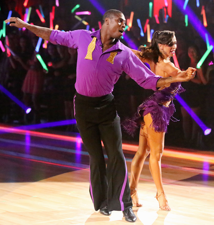 Baltimore Ravens wide receiver and return specialist Jacoby Jones finished in 3rd place with dancing partner Karina Smirnoff in Season 16.